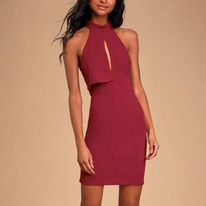 Lulus Lace Halter Bodycon Mini Dress Burgundy M